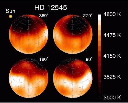 Le macchie di HD 12545, stella di tipo RS CVn. Crediti