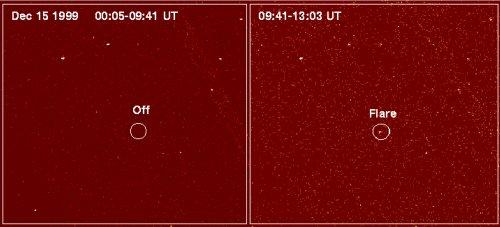 Il flare in banda X di LP 944-020 mostrato da Chandra X-Ray Observatory. Crediti Chandra/NASA