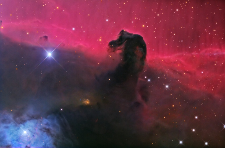 Nebulosa B33, nota come Testa di Cavallo. Una nebulosa oscura che blocca la luce proveniente dalla nebulosa a emissione (rossa) retrostante.