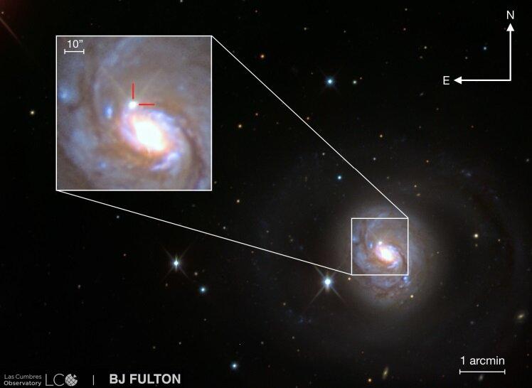SN 2018ivc in NGC 1068 ottenuta dal Las Cumbres Observatory. Crediti Bostroem et al.