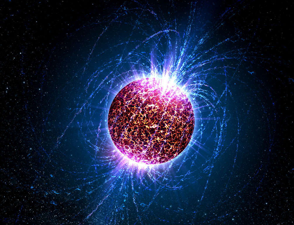 Rappresentazione di una stella di neutroni. Crediti Casey Reed/Penn State University