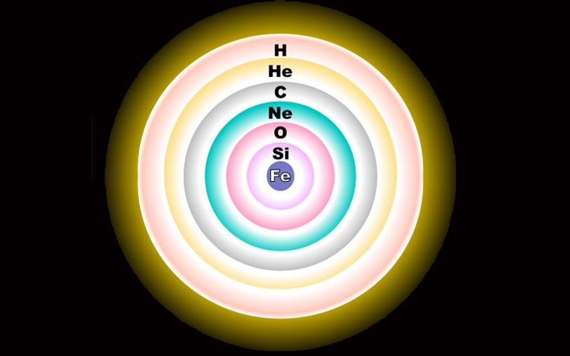 La struttura a gusci concentrici di una supergigante. Ciascun guscio vede bruciare un elemento più leggero man mano che ci si allontana dal nucleo.