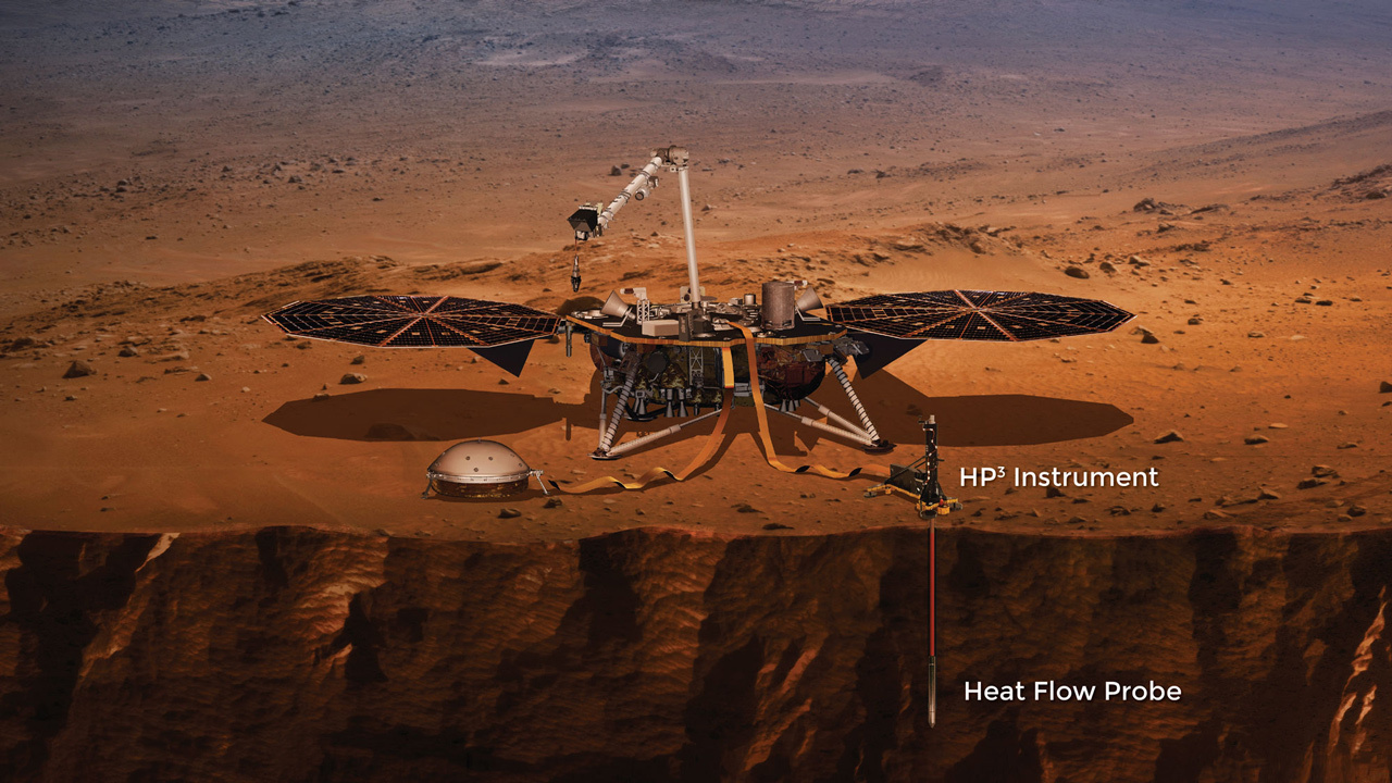 Lo strumento HP3 in InSight. Crediti NASA