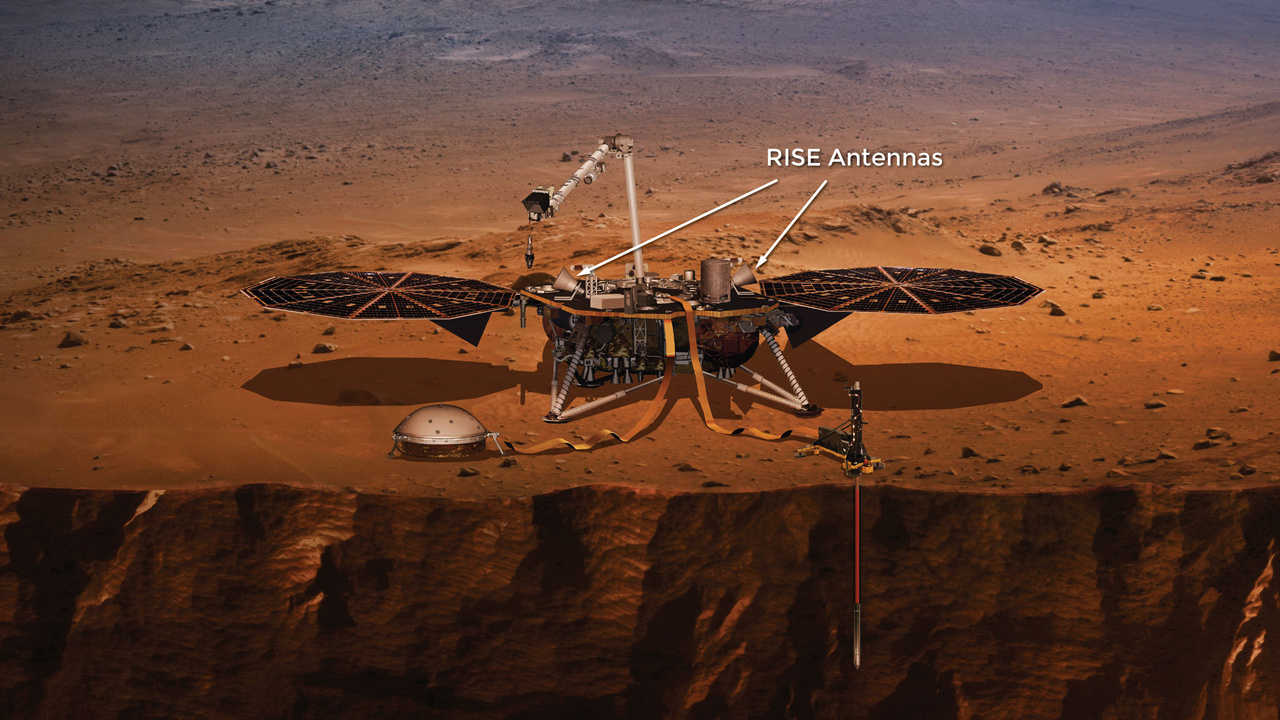 Lo strumento RISE in InSight. Crediti NASA