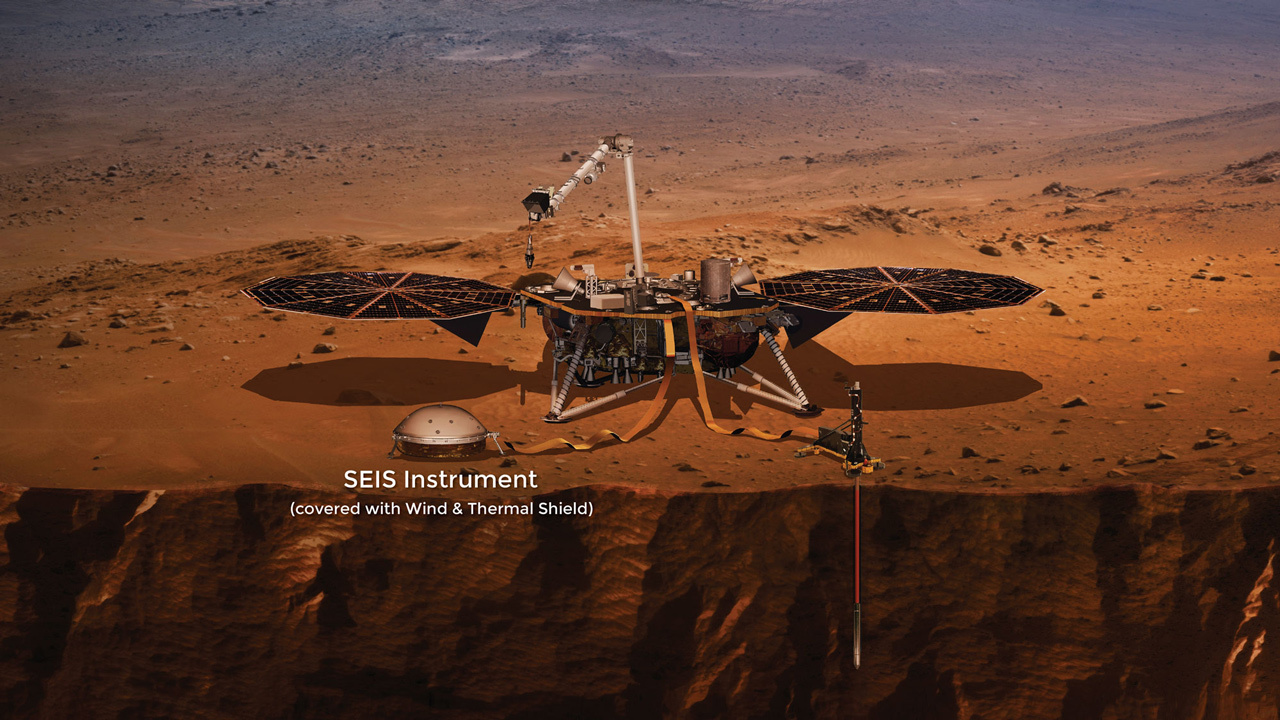 Lo strumento SEIS a bordo di InSight. Crediti NASA