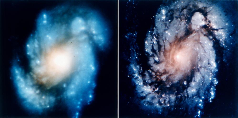 Il risultato dell'intervento operato sullo specchio di HST. La galassia M 100 prima e dopo l'intervento. Crediti NASA/ESA/HST