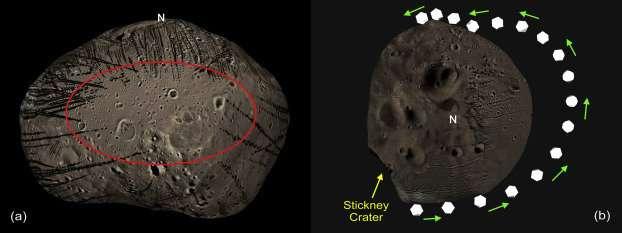 Phobos e il rotolamento delle rocce, tra giri completi e trampolini. Credit: Ken Ramsley / Brown University