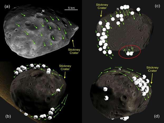 Simulazione delle tracce possibili espulse dalla formazione di Stickney. Crediti Ken Ramsley / Brown University