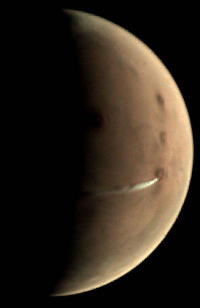 Immagine della formazione nuvolosa marziana. Crediti ESA