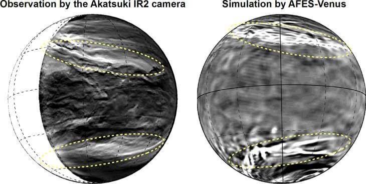 Il pattern gigante visto dalla sonda (sinistra) e riprodotto dalla simulazione (destra). Crediti JAXA