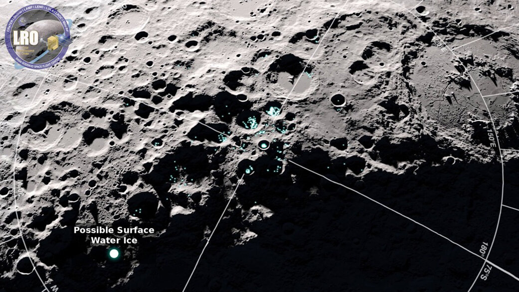 Zona lunare ripresa da LRO: potenziali aree di ghiaccio.  NASA's Goddard Space Flight Center/Scientific Visualization Studio