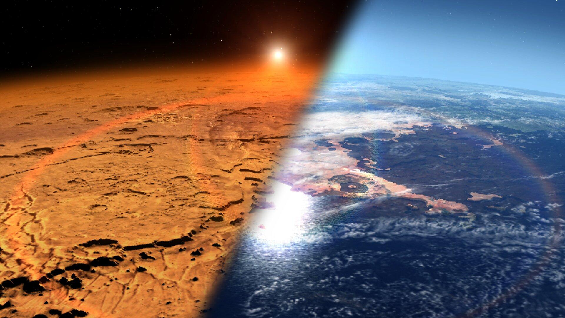 Marte e Terra, un confronto che potrebbe riguardare anche Marte attuale e Marte di un tempo. Crediti NASA