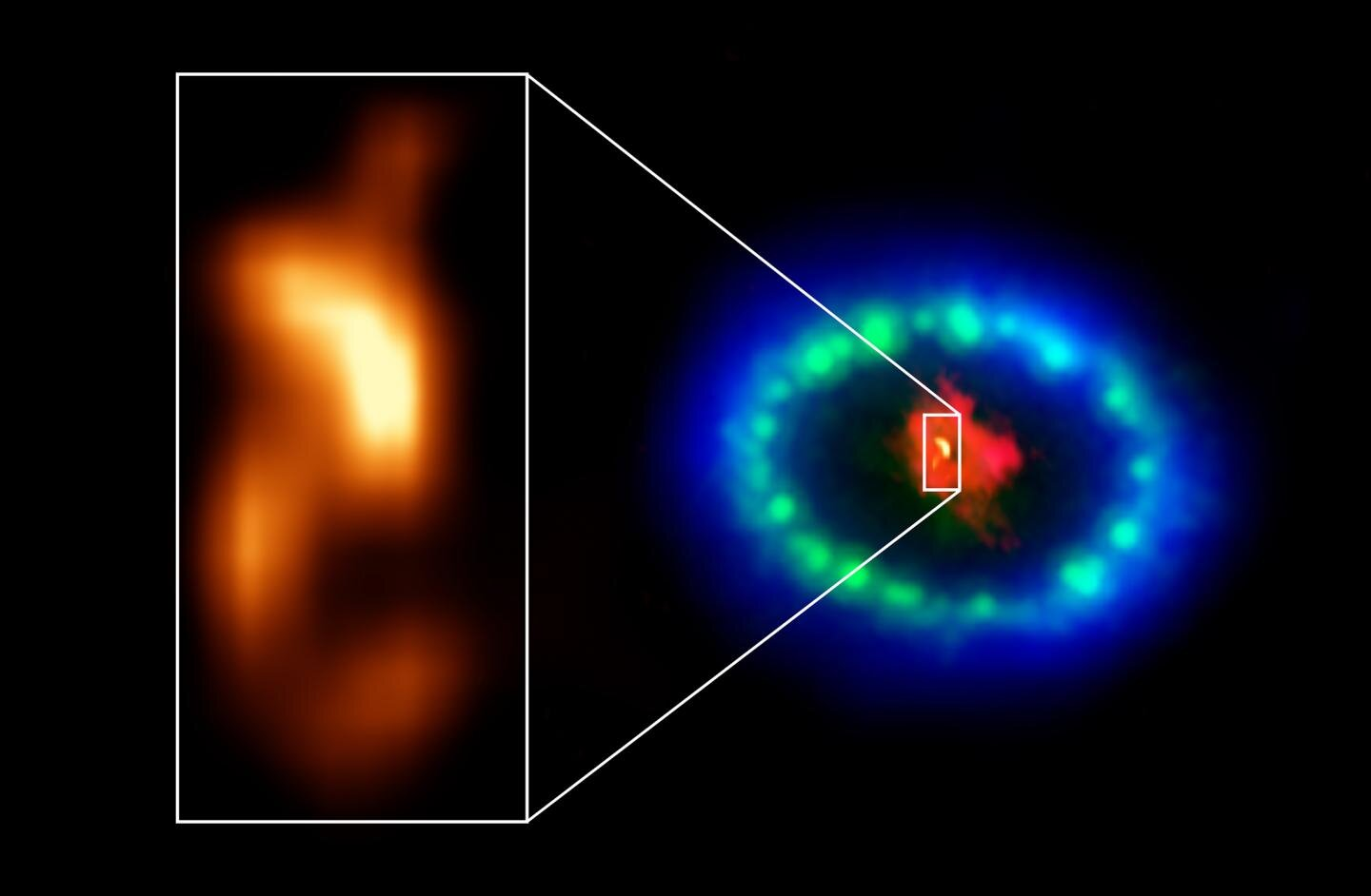 Credit: ALMA (ESO/NAOJ/NRAO), P. Cigan and R. Indebetouw; NRAO/AUI/NSF, B. Saxton; NASA/ESA